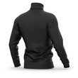Men's sweater with long raglan sleeves. Half-back view. 3d