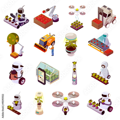 Agricultural Robots Icon Set - 192951132