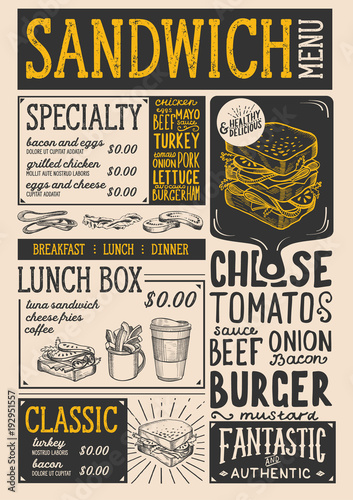 Wall mural Sandwich restaurant menu. Vector food flyer for bar and cafe. Design template with vintage hand-drawn illustrations.