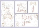 A set of wedding cards and invitations. Cards with lettering and beautiful dandelions