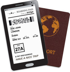 Mobile phone or smartphone with modern electronic boarding pass ticket for travel by plane and international passport. Vector illustration