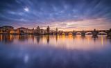 Charles bridge in Prague after sunset. Czech republic. - 192957137
