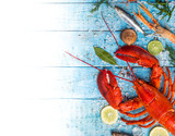 Fresh tasty seafood served on old wooden table. - 192957169