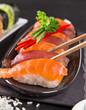 Japanese Sushi over black background. - 192957384