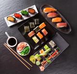 Japanese Sushi over black background. - 192957344