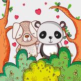 Dog And Panda Bear Loving Cute Cartoon Wall Sticker