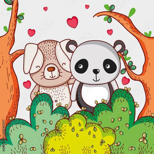 Fototapeta Dog and panda bear loving cute cartoon