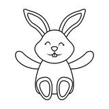 cute little bunny sitting animal happy vector illustration
