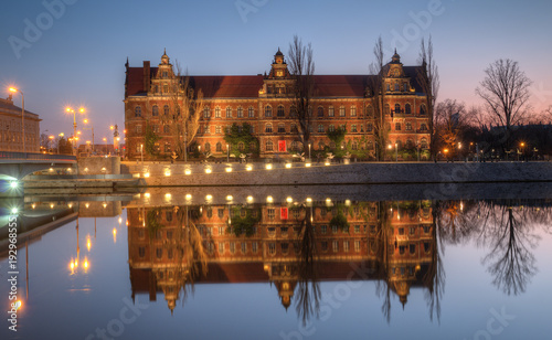 Evening building of the museum. Wroclaw, Poland.