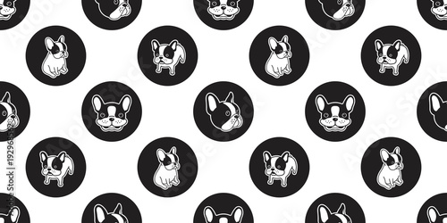 fototapeta na ścianę dog seamless pattern vector french bulldog isolated dog paw polka dot wallpaper background backdrop