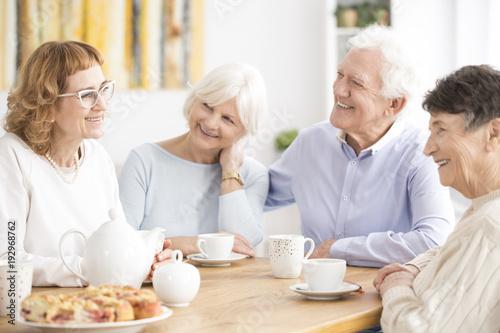 Senior people drinking tea