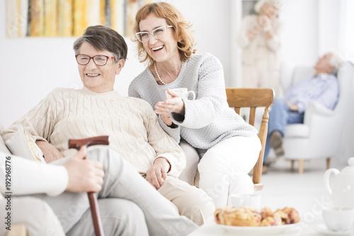 Smiling senior women have fun
