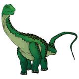 Fototapeta Dinusie - Cute cartoon Diplodocus. Isolated illustration of a cartoon dinosaur. © Максим Ковальчук