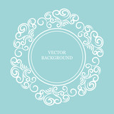 vector background with vintage decor, white and blue color