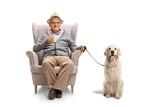 Mature Man  A Cup And A Labrador Retriever Dog Sitting In An Armchair Wall Sticker