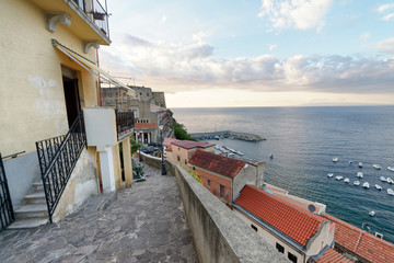 Scilla, Calabria. Beautiful aerial view of cityscape and coastline at summer sunset