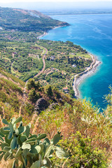 Aerial view of Southern Italy coastline in summer season