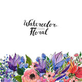 Watercolor Floral Background. Hand painted border of flowers. Good for invitations and greeting cards. Painting isolated on white and brush lettering. Spring blossom - 192978113
