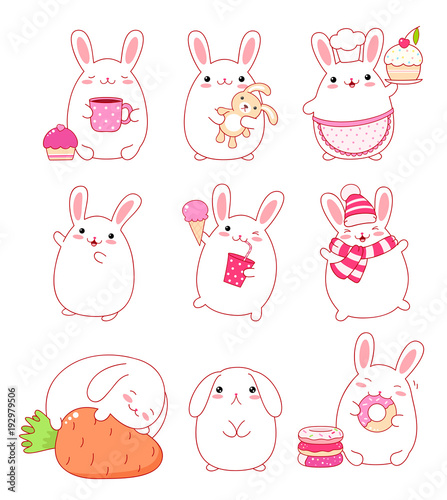 Collection of cute rabbits - 192979506