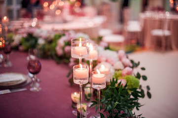 wedding decrotaions with flowers. picture with soft focus