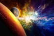 Two aliens planets in deep space, glowing mysterious galaxy, comet in space - 192988512