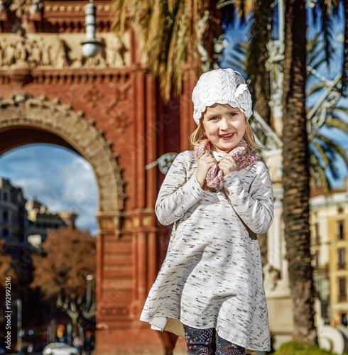 Foto op Canvas Barcelona happy trendy girl in Barcelona, Spain standing