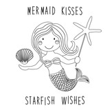 Cute Childish Hand Drawn Cartoon Character Of Little Mermaid  Sea Starfish Shell As Coloring Page Wall Sticker