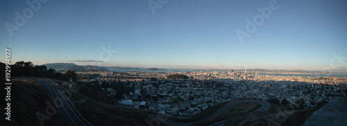 Panorama of San Francisco at autumn sunset from pwin peaks