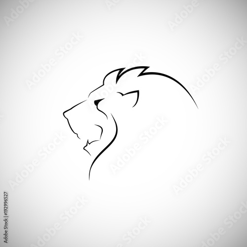 Fototapeta Lion head line style logo vector illustration