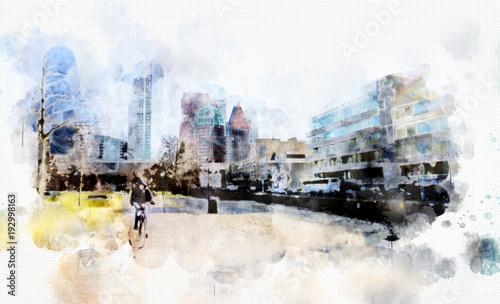 zycie-miasta-w-stylu-akwareli-holandia
