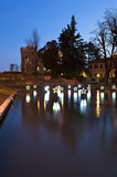 The castle of Treviso and the river Sile decorated with Christmas lights. Italy - 192998592