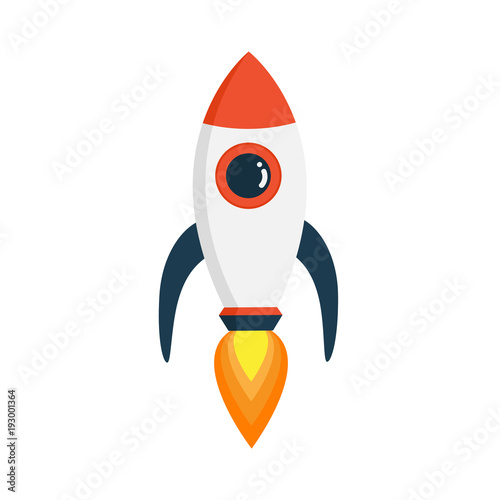 Fototapeta Rocket in fat style isolated on white background. Vectors stock.