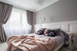 Pastel bedroom with double bed
