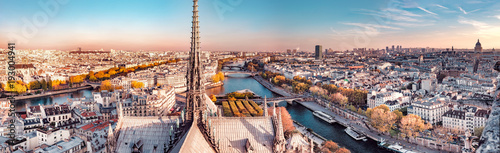 High resolution aerial panorama of Paris, France. The river Seine and autumn colors with blue sky. - 193004941