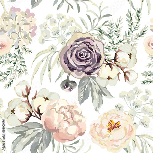 Bouquets with violet roses and pink peonies with gray leaves on the white background. Watercolor vector seamless pattern. Romantic garden flowers. Elegant illustration. - 193009196