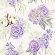 Mauve spring bouquets with roses, lilac, cotton and gray leaves on the light background. Vector seamless pattern with delicate flowers. Cottage garden. - 193009303