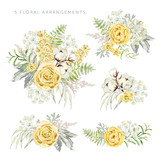Arrangements with yellow flowers on the white background. Rose, lilac, cotton, green leaves. Watercolor vector illustration. Romantic garden bouquets. - 193009353