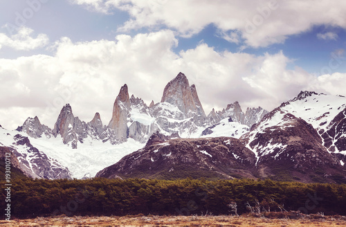 Aluminium Aubergine Fitz Roy Mountain Range wilderness, color toned picture, Argentina