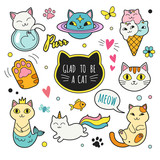 Fototapeta Cats patches collection. Vector illustration of cute funny doodle cats in different poses and unusual interpretation. isolated on white.