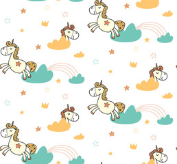 Cute pattern for kids, girls and boys. Vector illustration. It can be used to create prints, packaging, invitations, simple designs, gift wraps, festive decor, clothes, bags, pillows, postcards, cups