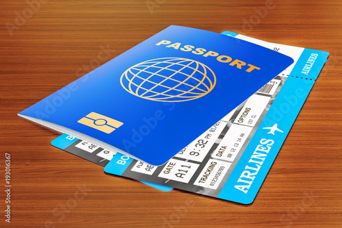 Passport and tickets on the wooden table, 3D rendering