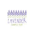 Lavender flower. Logo design. Text hand drawn.