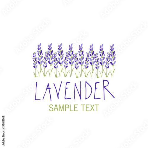 Fototapeta Lavender flower. Logo design. Text hand drawn.