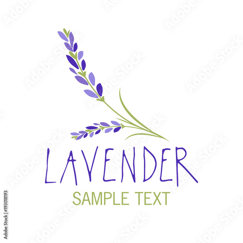 Lavender flower. Logo design. Text hand drawn. - 193018193