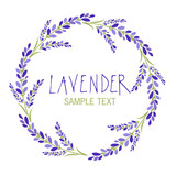 Lavender flower wreath. Logo design. Text hand drawn. - 193018588