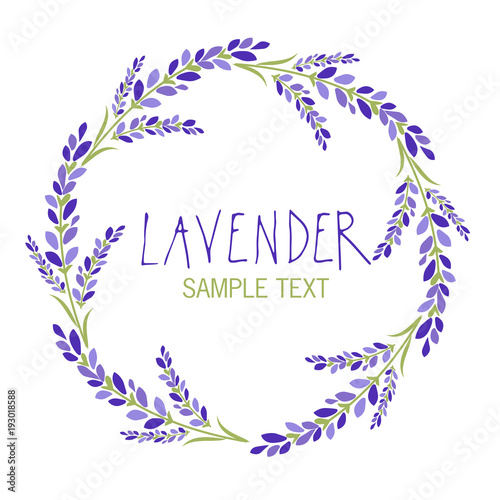 Lavender flower wreath. Logo design. Text hand drawn.