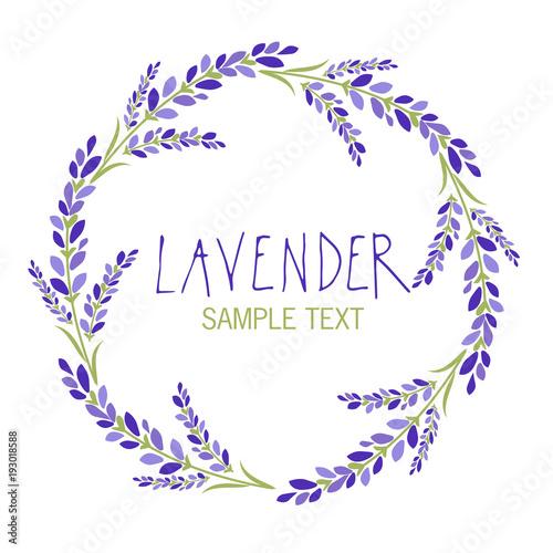 Lavender flower wreath. Logo design. Text hand drawn. - 193018588
