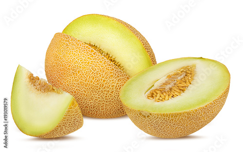 Foto Murales Fresh melon isolated on white background with clipping path