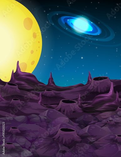 Foto op Aluminium Aubergine Space background with yellow moon