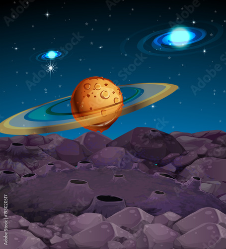 Aluminium Aubergine Background scene with planets in galaxy